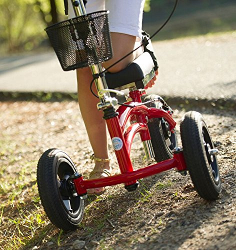 Small-Adult-Short-All-Terrain-KneeRover-Steerable-Knee-Walker-Knee-Scooter-Crutches-Alternative-in-Red-0-1