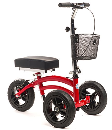 Small-Adult-Short-All-Terrain-KneeRover-Steerable-Knee-Walker-Knee-Scooter-Crutches-Alternative-in-Red-0