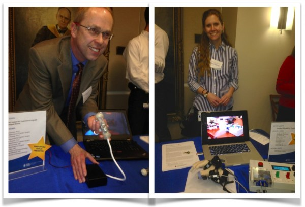 "Some of the innovators present at the event: (Left) ""Robotic Implant for Treatment of Long-gap Esophageal Atresia,"" presented by Pierre Dupont, PhD, Department of Cardiac Surgery, and (Right) ""Isolated Orthosis for Thumb Actuation,"" presented by Annette Correia and Leia Stirling."