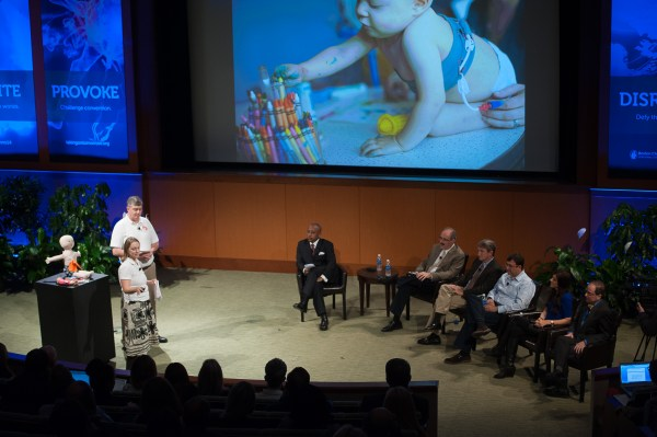 CareAline founders Kezia and Mike Fitzgerald present their pitch to the panel of judges. All photos via Boston Children's Hospital.