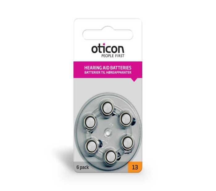 6 סוללות למכשיר שמיעה - Oticon 13 1