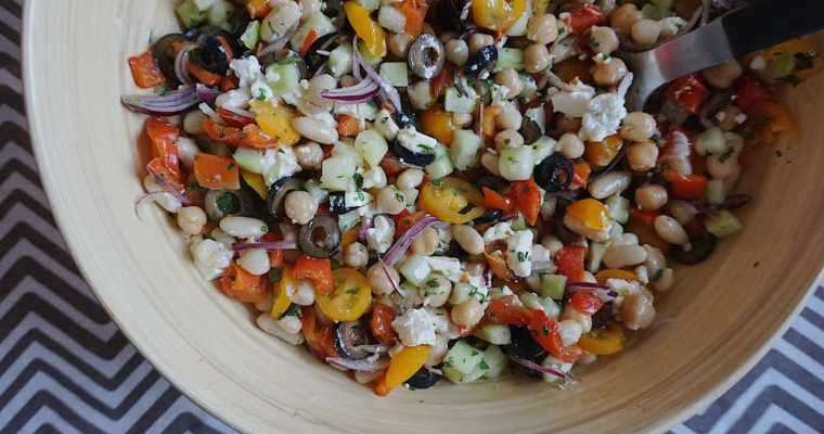 Pupiņu salāti ar dārzeņiem
