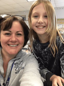 Assistant Superintendent Gabby Abrams, left, shadowed fourth grade student Willow Gowen earlier this school year. (Courtesy Photo Medway Public Schools)