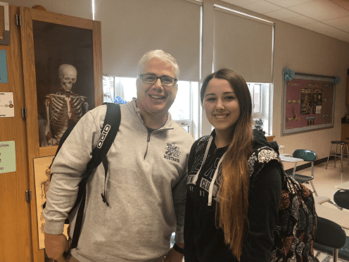 Superintendent Armand Pires, left, shadowed ninth grade student Tiffany Sheedy earlier this school year. (Courtesy Photo Medway Public Schools)