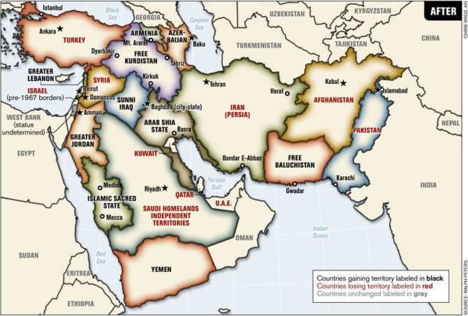 """V júni 2006 penzionovaný dôstojník Ralph Peters, zaoberajúci sa geopolitikou a stratégiou, zverejnil v uznávanom armádnom časopise Armed Forces Journal článok """"Krvavé hranice. Ako by mal vyzerať Blízky a Stredný východ"""". Jeho súčasťou bola slávna mapa. Článok už nie je dostupný, brizancia záverov tohto stratéga, vyvolávala nepríjemné otázky u spojencov USA. Link na pôvodnú stránku nájdete tu : http://www.oilempire.us/new-map.html Petersova mapa, však vychádzala z logických dôvodov a záverov. Koloniálne hranice sú neprirodzené a nezabezpečujú stabilitu. Preto je zrejmé, že časom dôjde k výrazným zmenám hraníc a úloha Spojených štátov podľa predstáv Bieleho domu v dnešných konfliktoch, vojne proti teroru, či náboženskej vojne, nie je len podporovať jednu či druhú stranu, ale zabezpečiť aj viac bezpečnosti, stability a vplyvu pre USA. Napríklad aj rozdelením krajín podľa mapy Ralpha Petersa Viac k súčasnej politike USA na blízkom východe nájdete tu : http://www.globalresearch.ca/iran-and-america-joins-hands-in-waging-the-global-war-on-terrorism/5387998"""