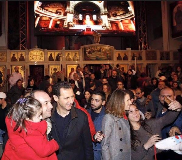 Bashar a Asma al-Assad v kostole