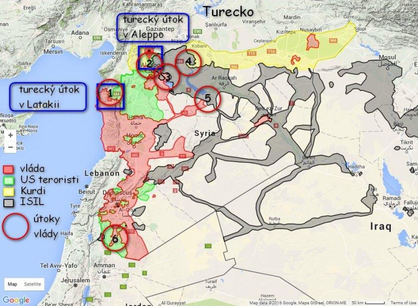 Sýria - situačná mapa 1 - útoky v Latakii 2 - útoky v Aleppo 3 - útoky na mesto Al Bab 4 - útok Kurdov na mesto Manbij 5 - útok na mesto al Tabqah 6 - útok v Daraa
