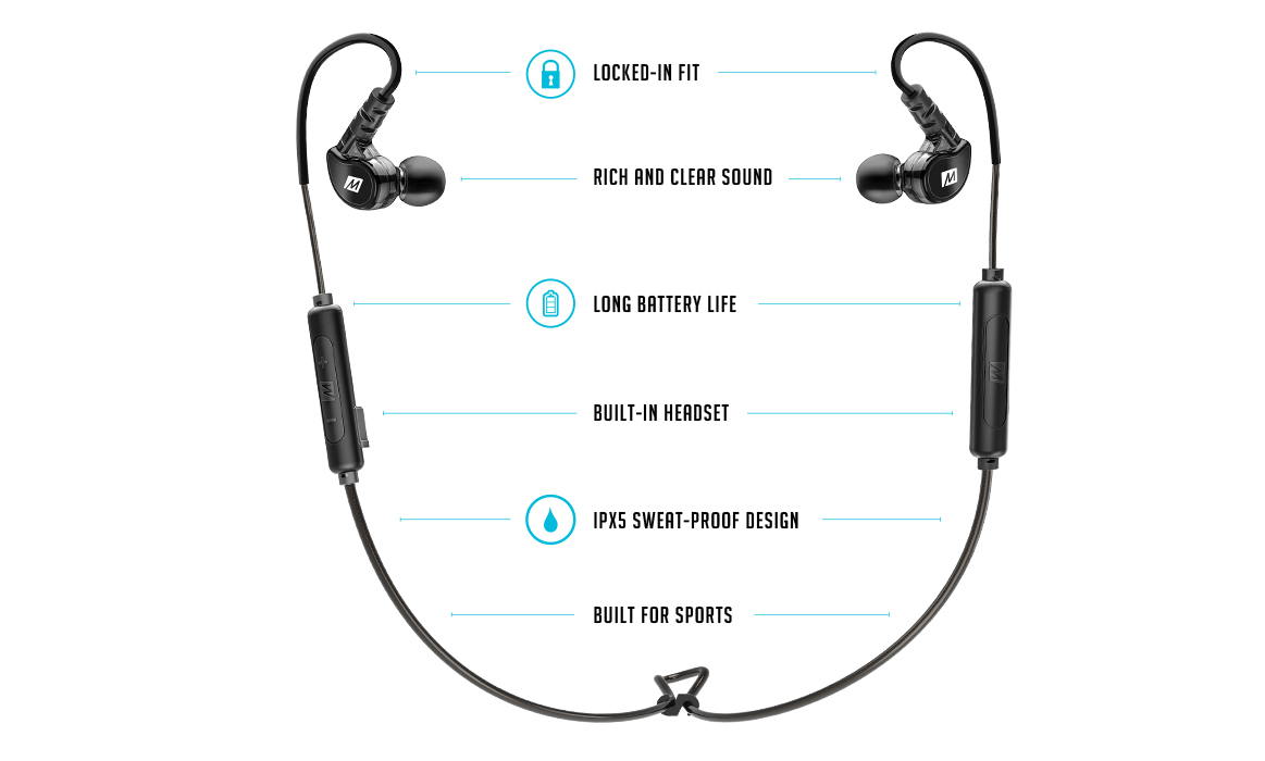 MEE audio X6 Bluetooth Wireless Sports In-Ear Headset