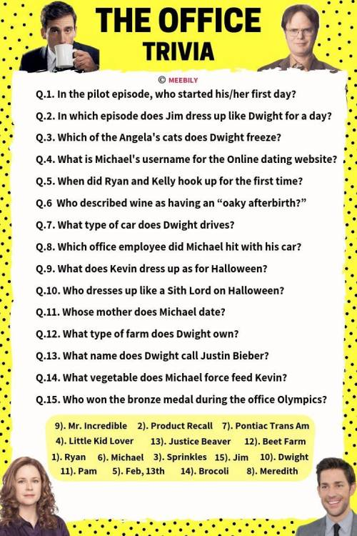 Office Trivia Questions & Answers Worksheet