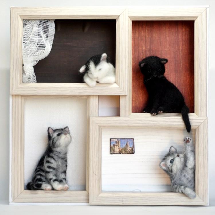 ネコのアパート 羊毛フェルト