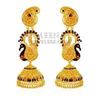 22K Gold Peacock Jhumka Earrings - ErEx20909 - 22k gold ...