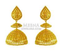 22 Karat Gold Jhumki Earrings - ErEx20035 - 22K Gold ...