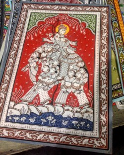 Traditional Pattachitra painting (Krishna is prevented from leaving by his Gopis)