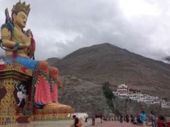40 meter Maitreya Buddha with Diskit Monastery in the distance