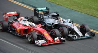 Hamilton jostles with Vettel late on
