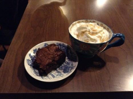 Espresso brownie and caramel coffee