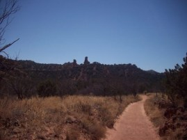 The trail snaked around many little rock 'chimneys' and walls