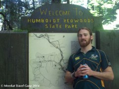 Kiernan is very excited to be in the redwoods