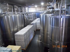 One stage in the fermentation process; some wines also spend some time in wooden barrels before being bottled.