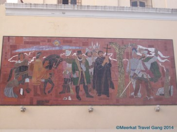 One of three murals on the side of the Jesuit cathedral, Córdoba.