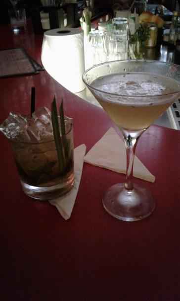 On the right is the lemon-y drink I had and on the left is the honey & whiskey concoction of Kiernan`s