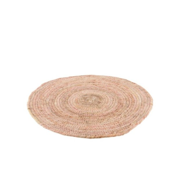 Placemat bamboe rond roze