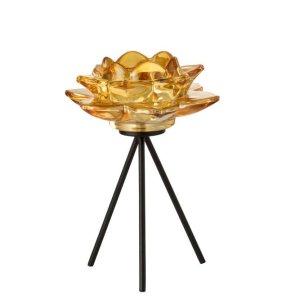 Waxinelichthouder bloem geel 21cm