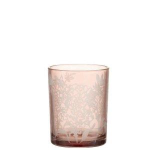 Waxinelichthouder bloem glas roze 12cm - bijzonder mooi wonen!