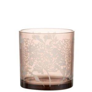 Waxinelichthouder bloem glas roze 15cm