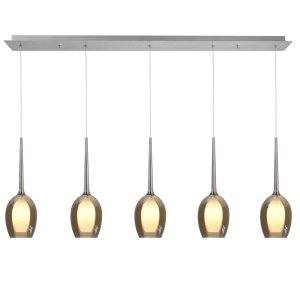 Hanglamp amber Belle 5 lichts balk