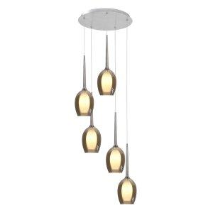 Hanglamp amber Belle 5 lichts rond