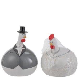 Ornament kip trouwen set 20cm