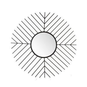 Spiegel zwart rond metaal 82cm