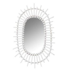 Spiegel wit ovaal bamboe 50cm