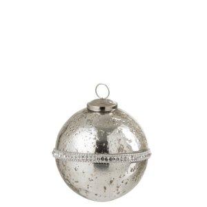 Kerstbal zilver diamant 11cm