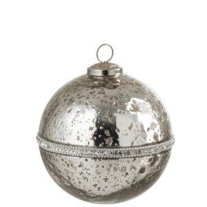 Kerstbal zilver diamant 14cm