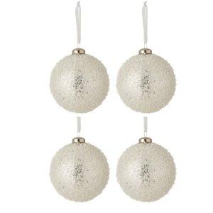 Kerstballen wit parels 10cm