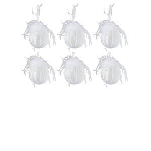 Kerstballen wit pluim 8cm