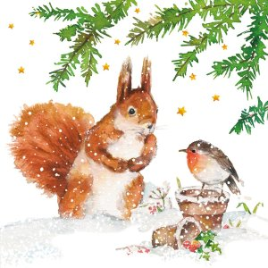 Servetten Squirrel and Robin 33x33