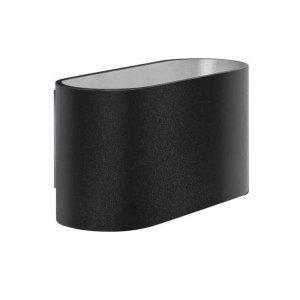 Wandlamp zwart-zilver Oval 8cm