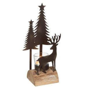 Waxinelichthouder bruin kerst 26cm detail