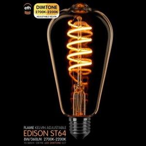 Lichtbron LED Edison spiraal goud dimtone