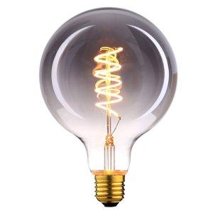 Lichtbron LED Globe 95mm spiraal rookglas 9W dimbaar