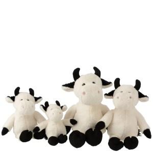 Knuffel koe wit-zwart detail