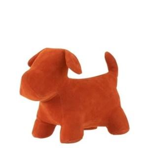 deco hond oranje fluweel 20cm