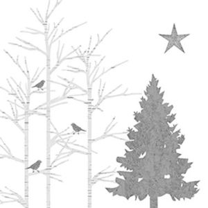 Servetten Mystic Tree zilver 33x33