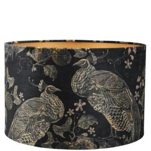 Lampenkap pauw zwart-brons velvet cilinder