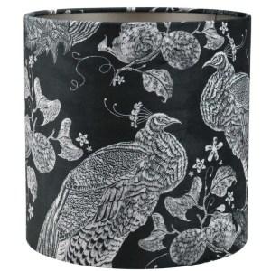 Lampenkap pauw zwart-grijs velvet cilinder detail 2