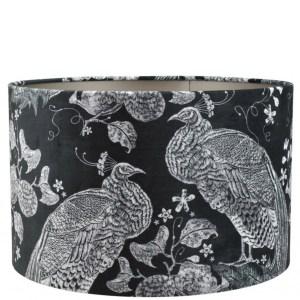 Lampenkap pauw zwart-grijs velvet cilinder