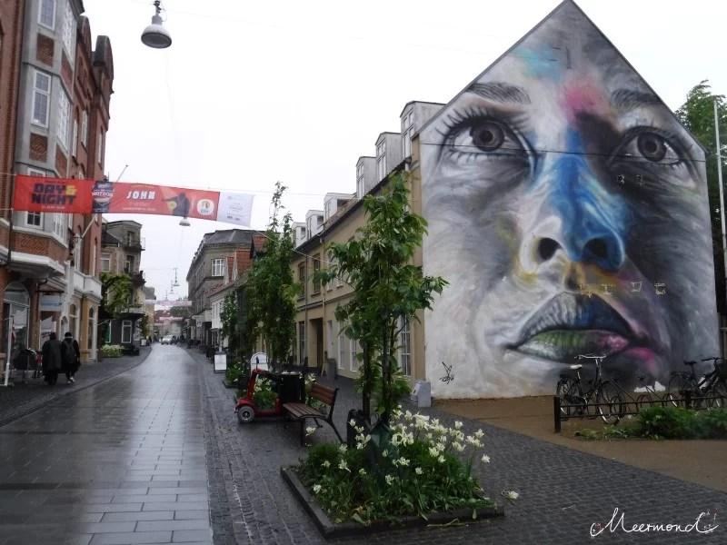 Aalborg Nørregade Streetart Frauengesicht